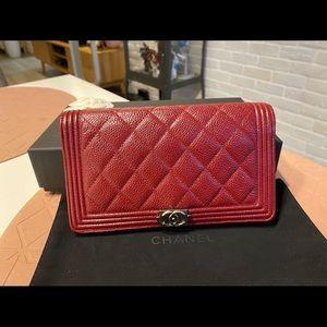 Chanel boy wallet caviar